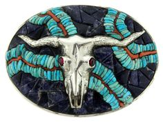 Sterling Silver Turquoise Coral Sodalite Mosaic Cow Skull Huge Oval Belt Buckle