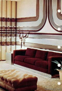 1975 interior design. I want that wallpaper now! Love it!