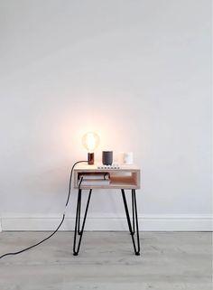 Scandi Bedside Table, Bedside Table Design, Small Bedside Tables, Bedside Table Styling, Hairpin Legs, Hairpin Leg Coffee Table, Plywood Table, Plywood Furniture, Bedroom Decor