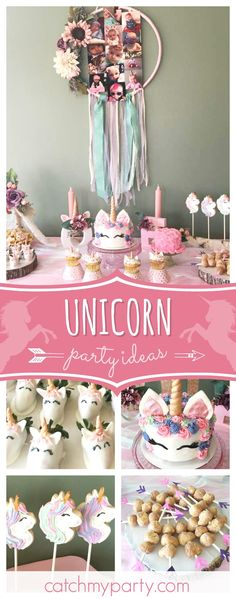 Take a look at this gorgeous boho chic unicorn 1st birthday party! The chocolated decorated unicorn strawberries are adorable!! See more party ideas and share yours at CatchMyParty.com #1stbirthday #unicorn #bohochic