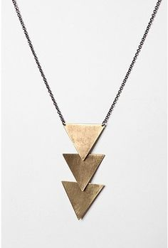 brass tiered triangle necklace