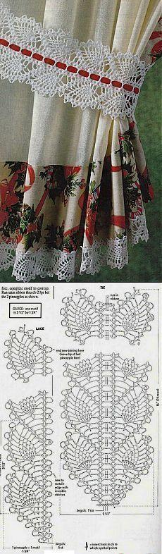 Beautiful pineapple crochet pattern to make curtain tie backs. Crochet Boarders, Crochet Lace Edging, Crochet Motifs, Crochet Diagram, Crochet Art, Crochet Home, Thread Crochet, Crochet Crafts, Crochet Doilies