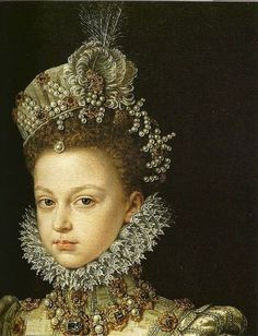 Renaissance jewels - Infantin Isabella Clara Eugenia at 13 years old - wonderful use of pearls. sca medieval jewelry middle ages