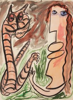 """""""Lady Will Stand By a Long Neck Tiger in All Kinds of Weather"""" by Thornton Dial // www.lowegallery.com"""