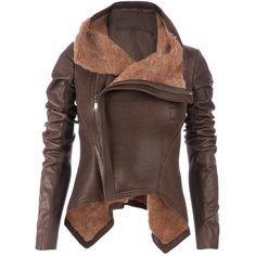 RICK OWENS Leather jacket (4,750 CAD) ❤ liked on Polyvore featuring outerwear, jackets, coats, tops, casacos, leather jacket, long sleeve jacket, real leather jacket, brown jacket ve rick owens jacket