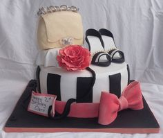 Purse Shoe Chanel Rose Bow Black White Fashion Cake Krispies treats with fondant