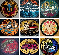 Japanese manhole covers. My favorite is the Godzilla one in the bottom left.