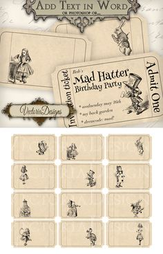 Printable editable Alice in Wonderland Tickets by VectoriaDesigns on deviantART