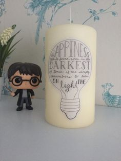 Happiness can be found in the darkest of times candle, Fandom candle, Harry Potter inspired, Fandom gift