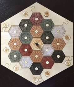 Custom Settlers of Catan game board, made using natural wood colors!