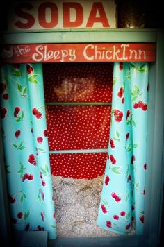 New Roost Box DecorHello, oilcloth! Not only did the box get new curtains, I lined the back wall of it (which tends to get covered in a lot of poop) with an oil cloth sheet to make cleaning easier. Chicken Garden, Chicken Life, Chicken Houses, Chicken Chick, Chicken Ideas, Chicken Tractors, Chicken Coop Plans, Chicken Coops, Woodworking Projects Plans
