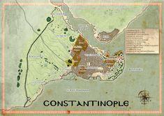 Carte de Constantinople en 1450 pour le supplément Mythras, Mythic Constantinople Golden Horn, Horns, Fountain, Ottomans, Christmas Ornaments, Holiday Decor, Rome, Maps, Home Decor