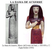 Dama de Auxerre (Original y aproximación según Richter) (h. 650a.C). Museé du Louvre, Paris. Arte griego