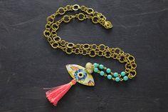 Evil Eye Necklace Pink Tassel Necklace Blue by MusingTreeStudios