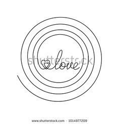 Continuous line drawing of word LOVE and two hearts inside spiral, Black and white vector minimalist illustration of love and life concept