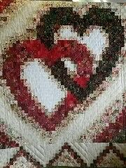 This beautiful hand-quilted Linking Hearts pattern measures x and is done in shades of red with black, cream and white and a red floral on black border. Bargello Quilt Patterns, Heart Quilt Pattern, Log Cabin Quilt Pattern, Bargello Quilts, Batik Quilts, Scrappy Quilts, Quilt Block Patterns, Sampler Quilts, Amish Quilts