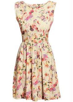 Vestido Evasê Flores Decote nas Costas - Posthaus