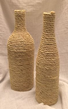 Recycled glass bottles wrapped with jute on Etsy, $10.00