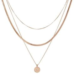Diamond Disc Charm Necklace (€65) ❤ liked on Polyvore featuring jewelry, necklaces, rose gold, long layered necklaces, long chain necklace, diamond necklace, layered chain necklace and long necklace