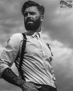 Levi Stocke - full beard and mustache beards bearded man men mens' style clothing fashion dapper retro suspenders tattoos tattooed hair haircut style barber Pomade Hairstyle Men, Hair Pomade, Rugged Style, Beard Styles For Men, Hair And Beard Styles, Mode Old School, Viking Haircut, Style Brut, Men's Style