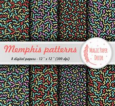 Memphis seamless pattern, Digital paper, Sprinkle, 80s, 90s, Birthday Party, Digital Paper Pack, Scrapbook paper, Abstract geometric pattern