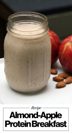 The protein smoothie Harley Pasternak loves, including apples, Greek yogurt, almonds, a banana, and cinnamon. Get the recipe here!