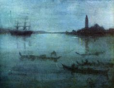 """Nocturne in Blue and Silver: The Lagoon, Venice,"" James Abbott McNeill Whistler, 1879-1880, Oil on canvas, 20 x 26"", Museum of Fine Arts - Boston."