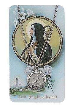 """Pewter St. Brigid Medal & 18"""" Chain, Prayer Card Set. MV001 https://www.amazon.com/dp/B005RS5S34/ref=cm_sw_r_pi_dp_x_rJzwyb2W4838P"""