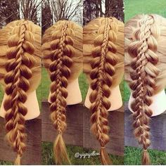 "These ""stacked"" braids are wickedly cool but seem impossible. Cute Hairstyles, Braided Hairstyles, Gorgeous Hairstyles, Fancy Braids, Playing With Hair, Love Hair, Hair Dos, Hair And Nails, Hair Inspiration"