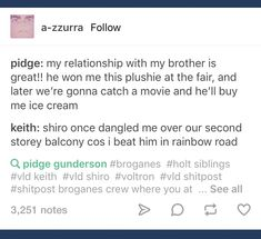 I hope the writers don't make Shiro and Keith brothers but this was still funny so imma pin it