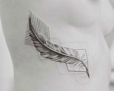 Feather tattoo in geometrical and dot style, very graceful.