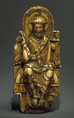Walrus Ivory Pectoral Cross with copper alloy gilt inlays, Probably from the Abbey of Saint-Bertin at Saint-Omer, northwestern France, c. 1000 - 1050