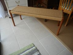 Vintage Solid Teak Wood Bench with Natural Rope Seat ~ The Danish House ~ Solid Teak Furniture ~ End of the Bed Bench by RenewRedoFurnishings on Etsy