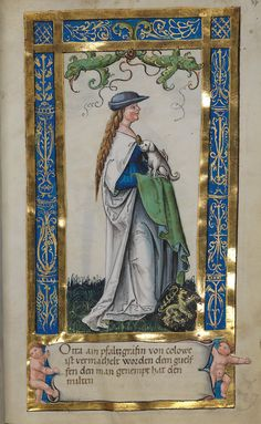 Another Robin Hood hat. Uta von Schauenburg holding a dog from Weingartener Stifterbüchlein (circa by an unknown artist. Medieval Books, Medieval Life, Medieval Manuscript, Medieval Art, Illuminated Manuscript, Illuminated Letters, Art Et Architecture, Renaissance Kunst, European Paintings