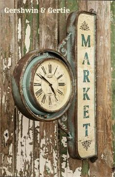 Farmhouse Market Clock - This treasure is sure to transform your space into a true vintage farmhouse market. We are crazy about it's substantial size and unique charm. Metal Farmhouse Market Clock measures x x - I love this! Old Clocks, Antique Clocks, Vintage Clocks, Farmhouse Furniture, Farmhouse Decor, Farmhouse Clocks, Farmhouse Signs, Tick Tock Clock, Photo Deco
