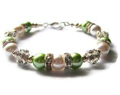 LIME and WHITE or IVORY pearls and sparkling rhinestones are all strung together to make this lovely modern wedding accessory. This bracelet