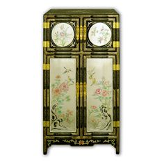 "43"" Oriental Black Lacquer Gold Leaf Cabinet with Colorful Hand Paintings"