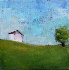 Art painting original landscape Oil of a house at the top of a hill. Inspired by a photo taken in the country of a tiny house surrounded by land,