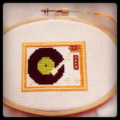 Lil turntables don't need microphones! My current #cross-stitch project: Bright #Orange #Retro #Record Player   Flickr - Photo Sharing!