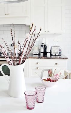 tiny white daisies - easter - easter branches