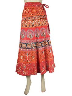 100 Cotton Wrap Skirt Gypsy Skirt Paisley Peacock Printed Red Long Skirt 36"