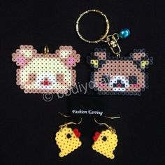Rilakkuma earrings and keyrings perler beads by bbdiycraft re