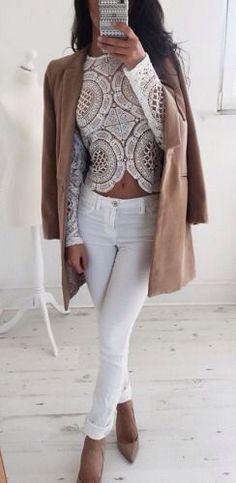lace + denim. white + nude.