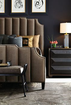 Bayonne Upholstered Bed in channeled autumn leaf brown velvet and antique brass nailhead outlines, Quinn Bachelor's Chest, Mansfield Bench