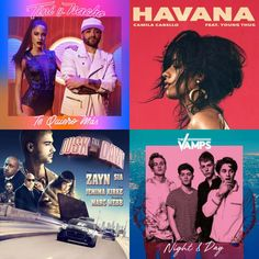 A playlist featuring The Vamps, Camila Cabello, ZAYN, and others