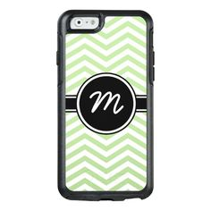 Pale Green and White Chevron Monogrammed OtterBox iPhone 6/6s Case