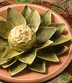 Artichoke Hors D'oeuvre with Sweet Anise and Chick Pea Dip. You can grow both your own Artichokes and your own Fennel Bulb which is referred to here as Sweet Anise Bulb.