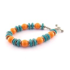 Orange And Turquoise Bracelet Silver by CinLynnBoutique on Etsy, $25.00