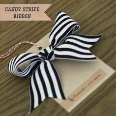 black + white candy stripe ribbon