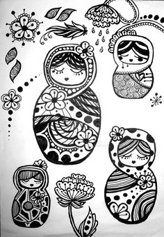 Russian doll doodles by Kimberlouise (previously VengeanceKitty) on deviantART. www.kimberlouise.deviantart.com